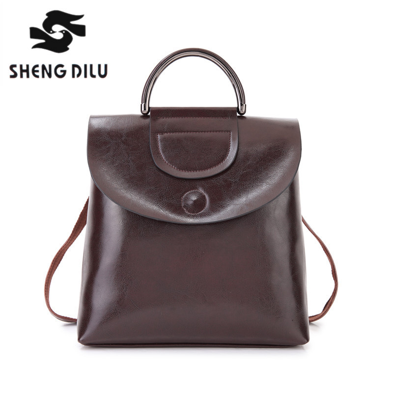 100% genuine leather Backpack shengdilu brand  Cow leather mochila 2018 new women shoulder bag fashion school bag free shipping