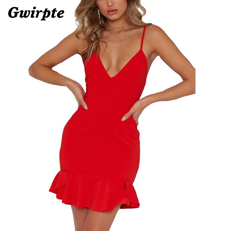 9dd20c8f49839 Gwirpte Sexy v neck ruffle strap mini dress women Skinny black mermaid dress  2018 Summer dress bodycon party vestido