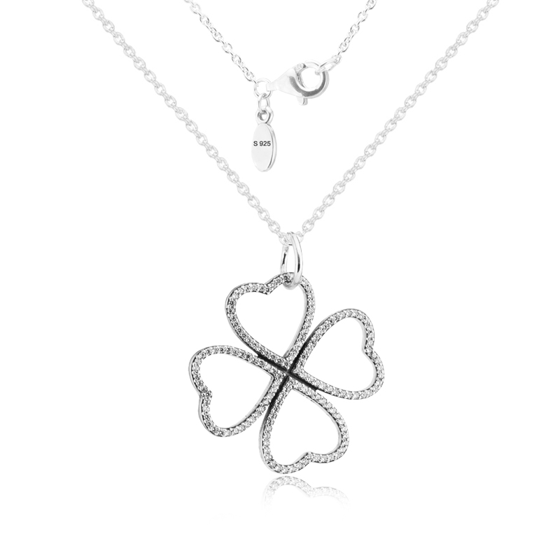 FANDOLA Genuine 925 Sterling-Silver-Jewelry Necklaces for Women Petals of Love Silver Pendant with Clear CZ & 90cm Silver Chain a suit of chic chain necklaces for women