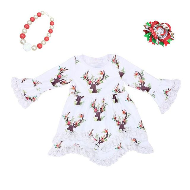 cd1436ccd39fc baby girl Christmas dress kids Xmas dress children white cotton Christmas  outfits lace reindeer Christmas dress for girls kids