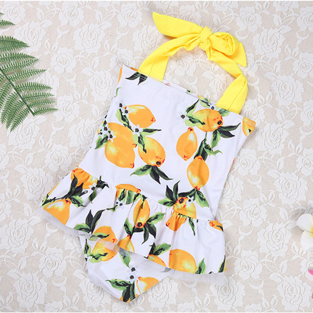 Fruit Print Girls Swimsuit with skirt Cute Strap one-piece swimwear for Kids Quality 3 Colors Swimming Suit 7-14 Years Old