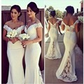 2017 Latest Design Mermaid Bridesmaid Dresses Off Shoulder Lace Long Formal Gowns vestidos de festa Custom Made Sweep Train