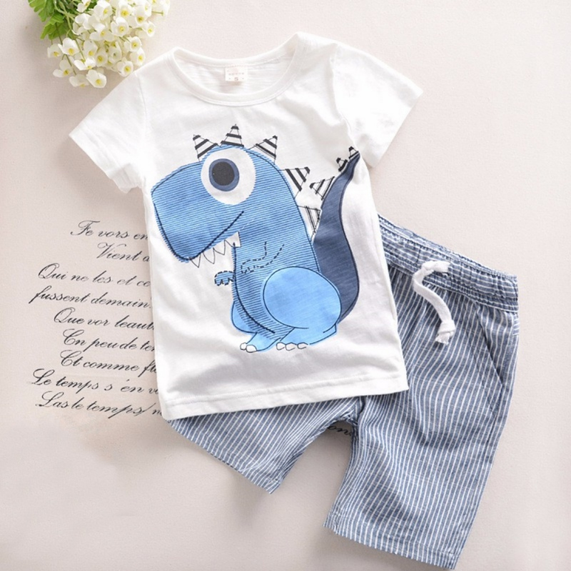 2PCS Clothes Set Baby Boy Girl Dinosaur Character Short Sleeve Top + Striped Shorts Outfits Children Clothing new baby character dinosaur overalls white t shirt lovely baby costumes baby outfits