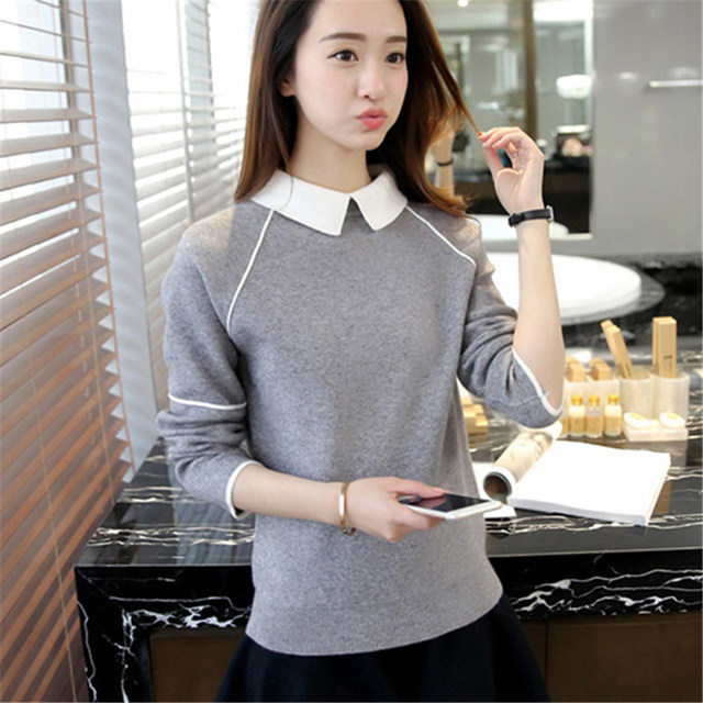Women Pullover Sweater 2017 Winter Autumn New Fashion Warm Pullovers High Quality Solid Colors femme  Turn-down Collar Sweaters
