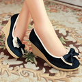 Discount Size 34 Sweet Ladies Pumps Autumn Closed Toe Denim Basic Platform Wedges Women's Butterfly Knot Lace Blue Shoes
