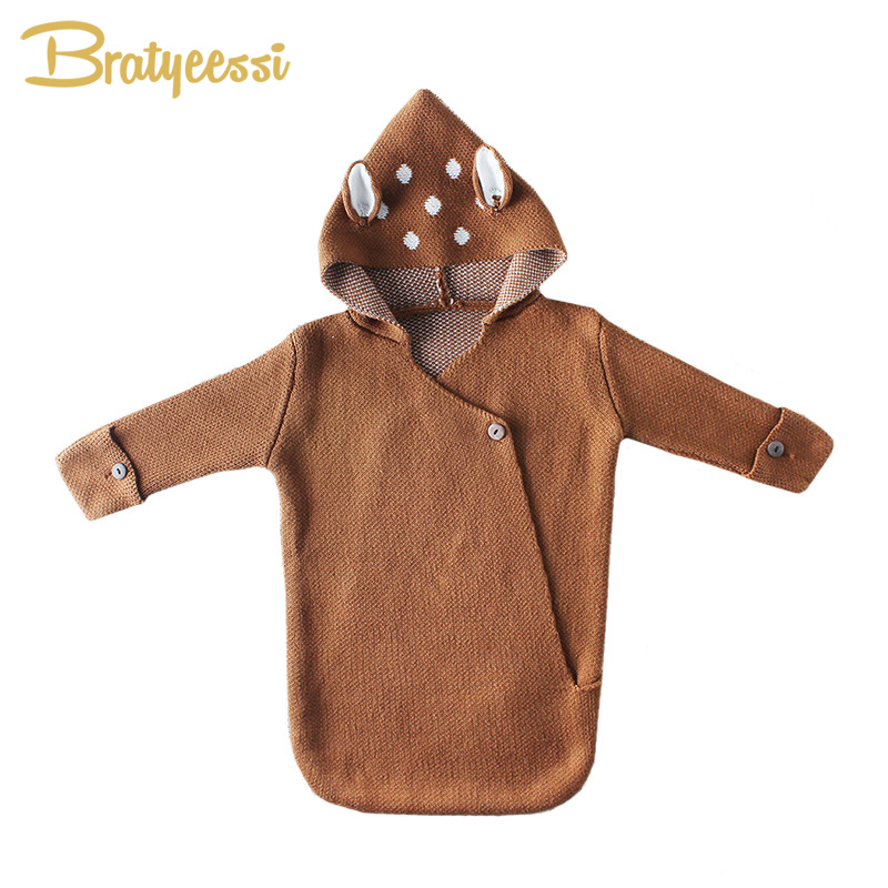 Deer Baby Sleeping Bag Winter Knitted Envelope For Newborns Cute Warm Outdoor Stroller Windproof Blanket Baby Nest