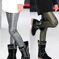 Girls Spring 2016 new fashion pearl leather leggings kids leggings pants girl legging