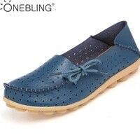 Melhor Preço Plus Size 34-44 sapatos 2017 Mulheres Sapatos Baixos Mulher Verão Flats Escavar Couro Genuíno Macio E Confortável mocassins Sapatos