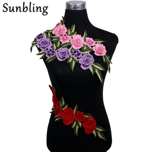 Sunbling Big Flower Patch Clothing Embroidery Applique For Wedding Dress Lace Multilayer Flower DIY Handmade(China)