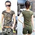 Verano 2016 de algodón de Camuflaje militar ocasional del o-cuello elástico de manga corta camiseta de las muchachas de las mujeres delgadas tops ropa ropa