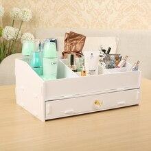 Выдвижной тип макияжа органайзера большая коробка творческая коробка ювелирных изделий DIY деревянная коробка стол органайзера офисные аксессуары