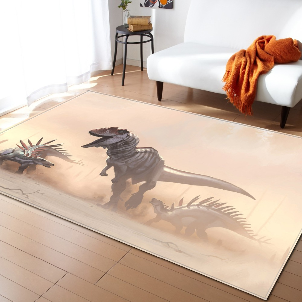 European And American Jurassic 3D Dinosar Decoration Big Carpets Living Room Area Rug Soft Flannel Boys Gift Carpet Mats Rugs