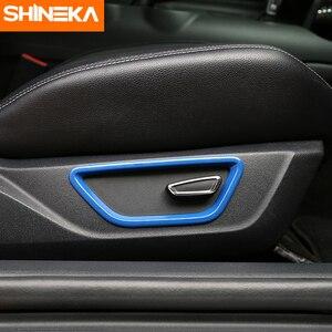 SHINEKA Auto Styling 2PCS Neue Ankunft ABS Innere Auto Sitz Einstellen Taste Rahmen Abdeckung Trim für Ford Mustang 2015 +