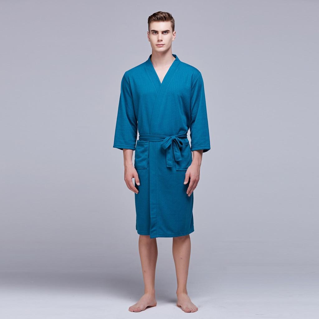 Summer Man Robe Sexy Mid-length Waffle Thin Men's Tunic Bathrobe 2019 Home Clothes Home Bathrobe Sexy Hombre nightwear