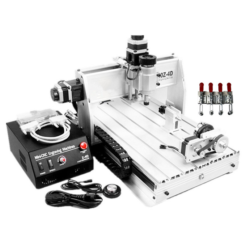 3D CNC Router 3040 Z-DQ CNC Milling Machine with with rotary axes, ball screw auto-checking tool + 4 free cnc clamps free tax to russia 4 axis cnc 3040 z dq cnc engraving machine with ball screw design support 3d cnc router engraver