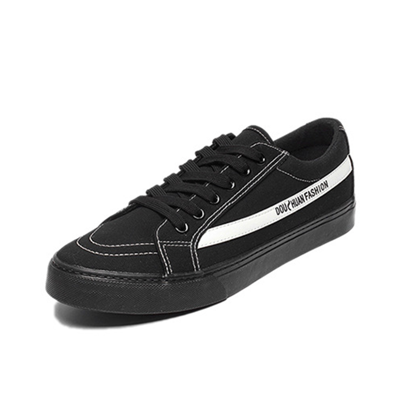 Canvas Shoes Black White Skating Sneakers For Men Lace-Up School Boys Casual Shoes Breathable Simple Style Match Autumn Footwear
