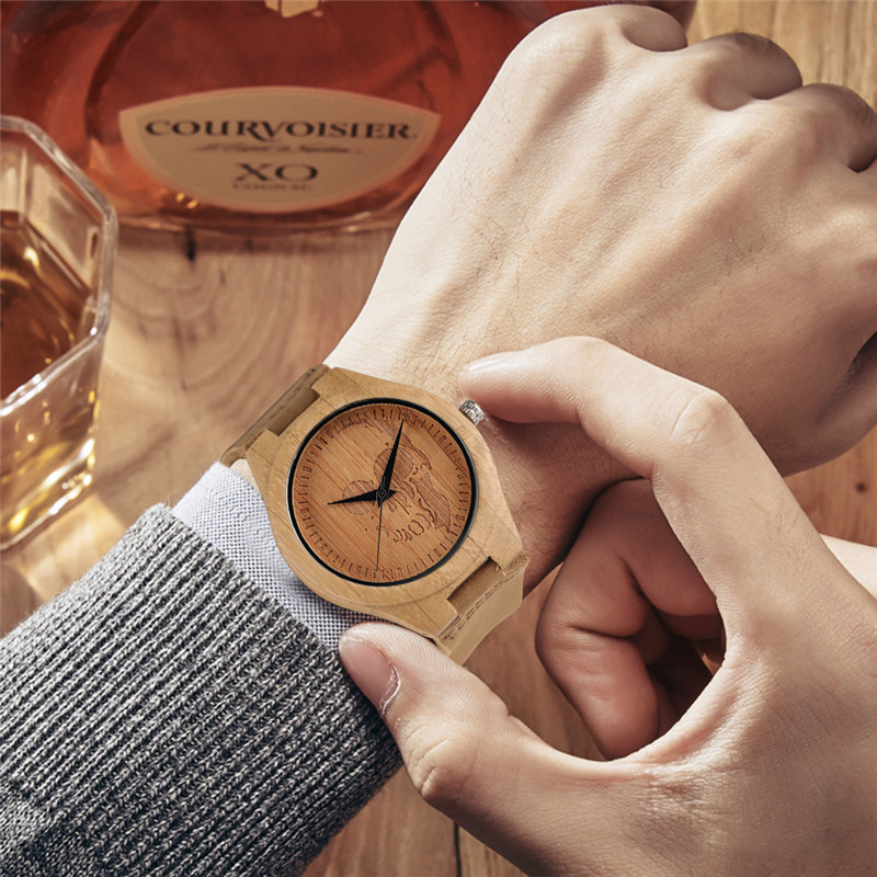 Image 5 - Luxury Wood Watch for Men Women Skull Pattern Creative Nature Wooden Wristwatch Modern Novel Leather Bangle Unisex Bamboo Clockwatch forwatches for menwatch pattern -