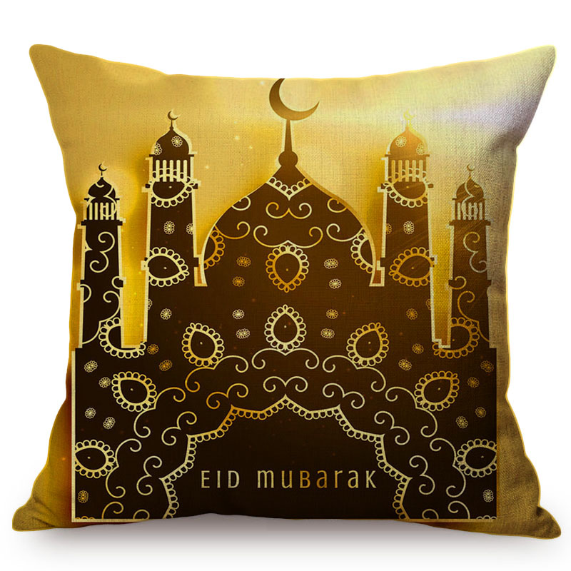 Yellow Classic Islam Ramadan Kareem Decoration Cushion Cover Cotton Linen Mosque Castle Moon Background Sofa Throw Pillow Cover