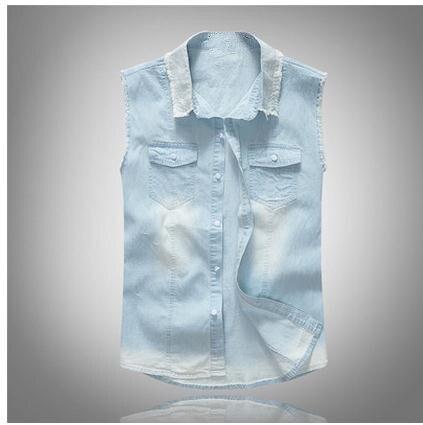 8470957ae7d16 M 4Xl Male Summer Cowboy Vests Slim Light Blue Leisure Sleeveless Vests  Plus Size Mens Casual Jeans Vest Denim Waistcoats J2031