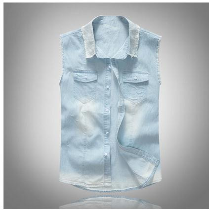 M/5Xl Male Summer Cowboy Shirt Slim Light Blue Leisure Sleeveless Plus Size Men Casual Jeans Shirts Fashion Tops And Tees  J2031
