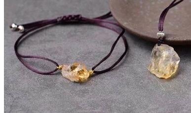 Natural Amethyst Citrine Fluorite Irregular Original Original Adjustable Hand Rope Bracelet Necklace PendantBracelet Pendant Set