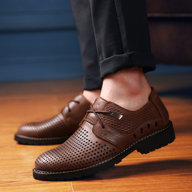 Männer Schuhe 2017 Mode Sommer herren Business Casual Schuhe Aus Echtem  Leder Oxfords Sandalen Atmungsaktiv Hohle