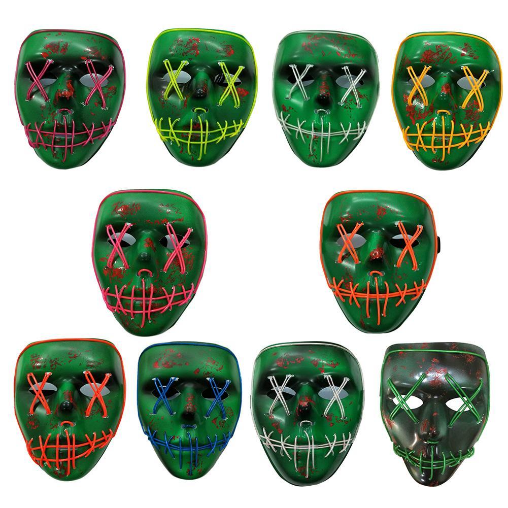 Halloween Skeleton Shaped Luminous Mask LED Flashing Mask Without Battery for Festival Carnival Party Halloween Decoration