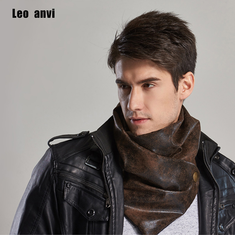 Leo Anvi Warm Men Scarf Luxury Brand Winter Infinity Bandana Designer Leather And Cotton Type Tube Shemagh With Buttons Shawls
