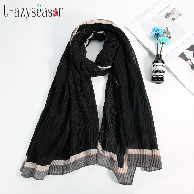 Newest Winter Warm Cashmere   Scarf   Women brand Shawl Fashion crinkle solid female hijab basic   Scarves     wraps   Long Foulard Femme