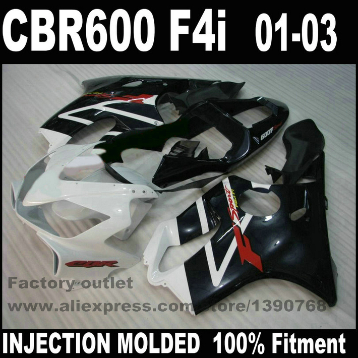 Fairings set for HONDA CBR 600 F4i 2001 2002 2003 white black fairing kit CBR600 01 02 03 aftermarket NV3 custom motorcycle fairing kit for honda cbr600 f4i 01 02 03 cbr600f4i 2001 2002 2003 f4i cbr600 white blue fairings set hp18