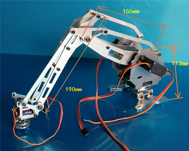 4 DOF CNC aluminum robotic arm frame robot model 4-asix robot arm 4 servos mg996R 4 dof wood robotic arm sg90 servo for arduino raspberry pie snam1500