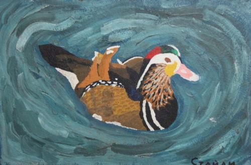 Peinture à l'huile de canard signée