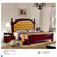 modern european solid wood bed Fashion Carved 1.8 m bed french bedroom furniture American style bed LLS832
