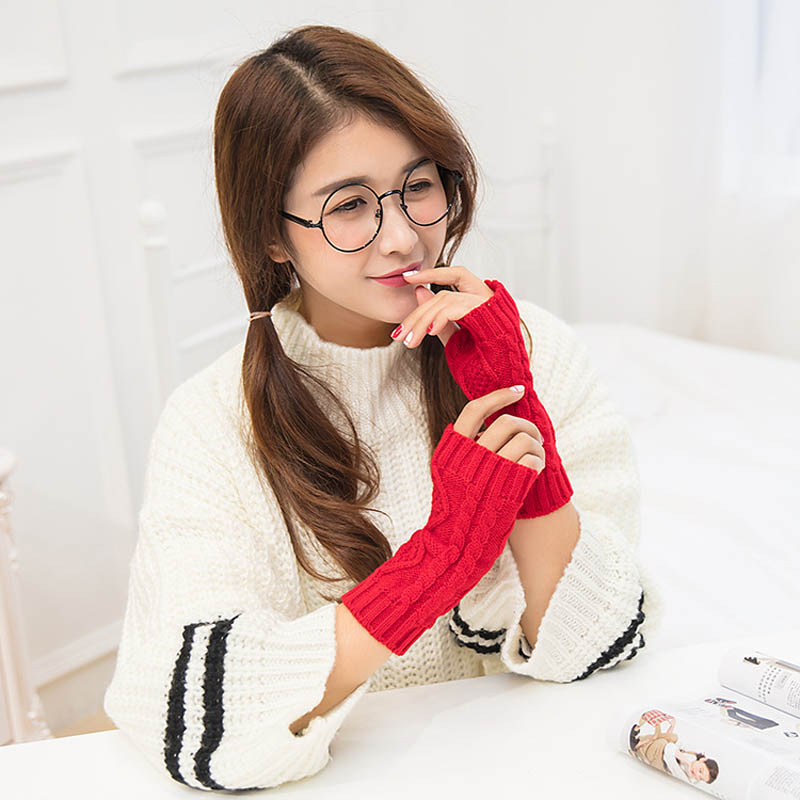 1Pair Women Winter Spring Fingerless Gloves Warmer Long Knitted Arm Gloves Best Sale-WT