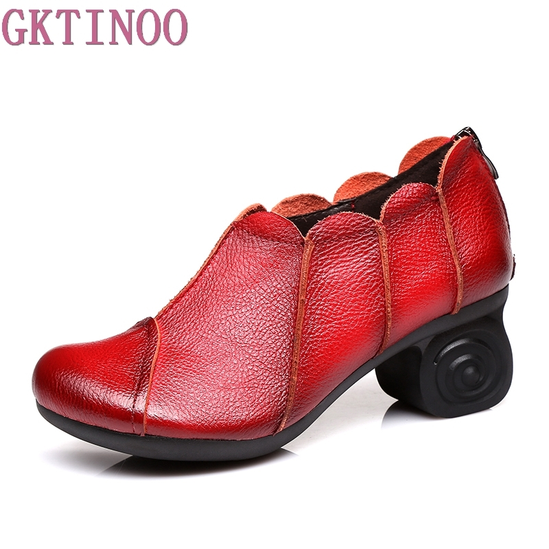 Women Pumps Genuine Leather High Heel Shoes Genuine Leather Thick Heels Handmade Shoe Vintage Style leather pumps women 2017 high heels shoes woman genuine leather closed toe thick heel fretwork handmade cool women s shoes