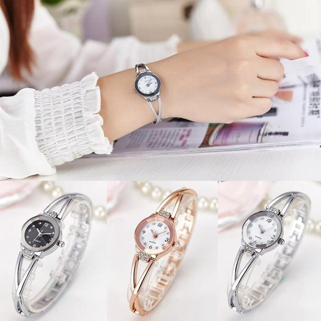 New 3 Colors Fashion Rhinestone Watches Women Luxury Brand Stainless Steel Brace