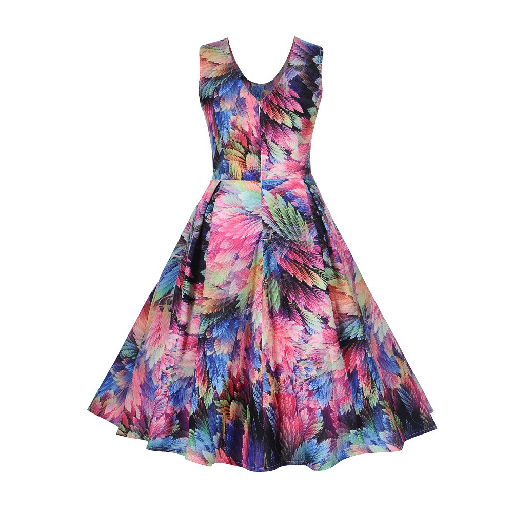 MUQGEW dress Women Vintage Printing Sleeveless Casual Evening Party Prom Mid Calf Swing V Neck Hot