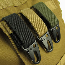 EDC tool outdoor camping D-carabiner key hook MOLLE webbing buckle hanging system Belt keychain(Nylon webbing + metal hook)FW006(China)