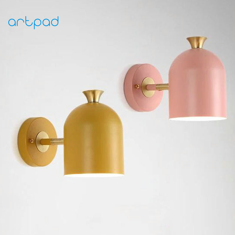 Artpad Nordic Wall Lamp Lampara de pared Home Bedside Living Room Balcony Aisle Decorative Wall Light Indoor Lighting 4 Colors bedside wooden wall lamp wood glass aisle wall lights lighting for living room modern wall sconce lights aplique de la pared