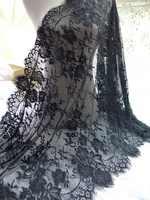3 m branco/preto requintado cílios guarnição do laço floral chantilly tecido de renda para diy vestido acessórios de roupas
