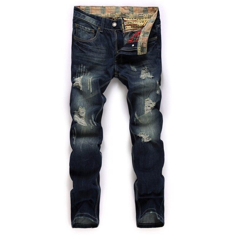 2017 Men Fashion Jeans Exclusive Design Famous Casual Denim Jeans Men Straight Slim Middle Waist Men Jeans Vaqueros Hombre