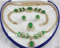 FREE SHIPPING>>@> Wholesale ridal Woman's Jewellery emerald jade necklace bracelet ring earring set Lad Natural jewelry