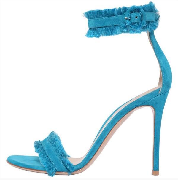 Sexy Light Blue Satin Women Sandals Ankle Strap Tassel Buckle Gladiator Sandals Women Stiletto High Heels Wedding Shoes Bride in High Heels from Shoes