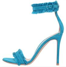 Sexy Light Blue Satin Women Sandals Ankle Strap Tassel Buckle Gladiator Stiletto High Heels Wedding Shoes Bride