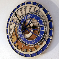 Creative wall clock Prague Astronomical Wooden Clock Living Room Wall Clock Quartz Clock Home Decoratio Wood Clock Mute