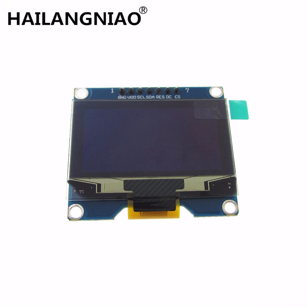 1pcs Wholesale 1.54 inch 7PIN White OLED Screen Module SSD1309 Drive IC Compatible for SSD1306 IIC / SPI Interface 128*64 1 3 inch 128x64 oled display module blue 7 pins spi interface diy oled screen diplay compatible for arduino