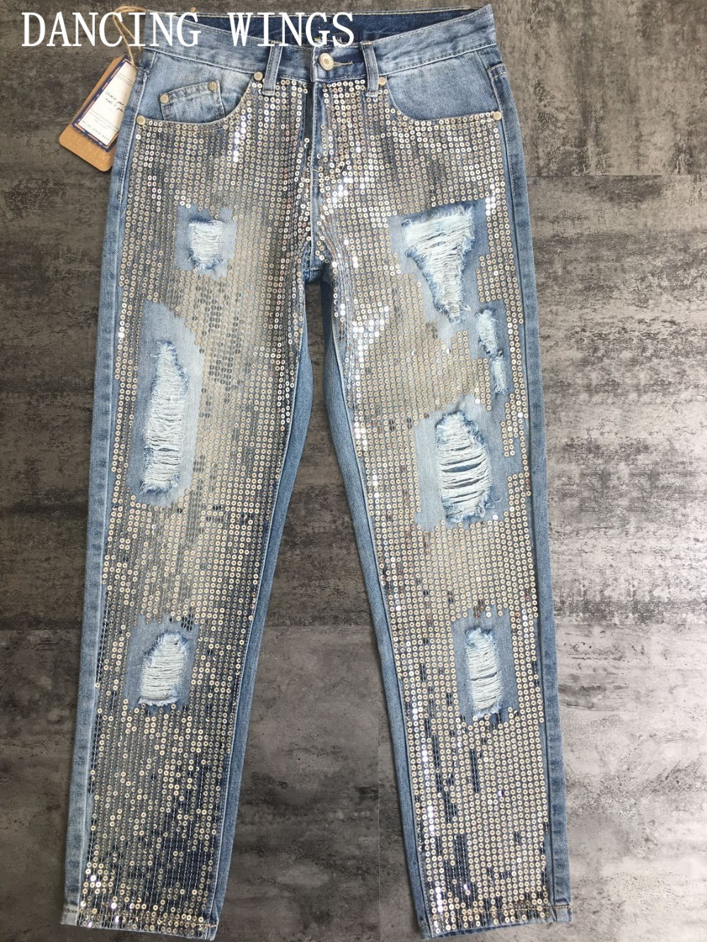 Fashion Wild Silver Sequins Washed Holes Denim Pants Mid Waist Casual Loose Straight   Jeans   Women Capris