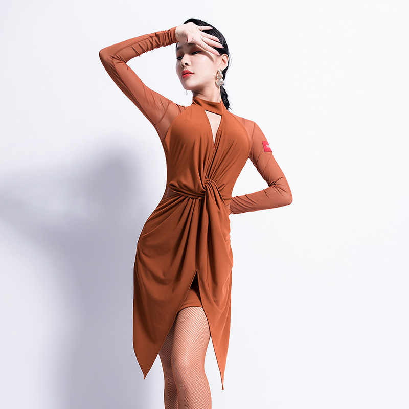 d7ddb63a3 Latin Dance Dress Women Long Sleeve Salsa Samba Tango Cha Cha Dancing  Ladies Latin Dresses Stage