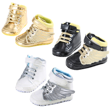 Newborn Baby Boy Girl Moccasins Moccs Shoes Infant Toddler Unisex Angel Wings Sneakers Boots First Walker Shoes 3 Color