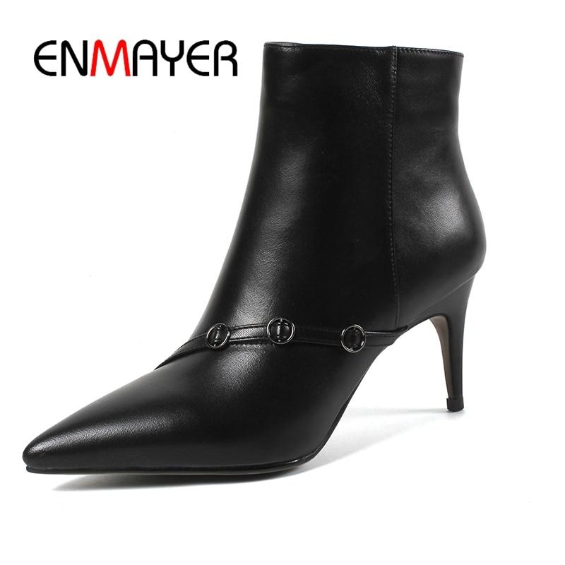 Bout Taille Zipper Grande black Mode Femmes Apricot Bottines Botas Mince Zyl1016 Pointu 43 34 Bottes Mujer Enmayer Talon Hfq1X7w